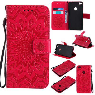 Buy RED Yanxn Sun Flower Printing Design Pu Leather Flip Wallet Lanyard Protective Case for HUAWEI P8 Lite, 2017 for $5.08 in GearBest store