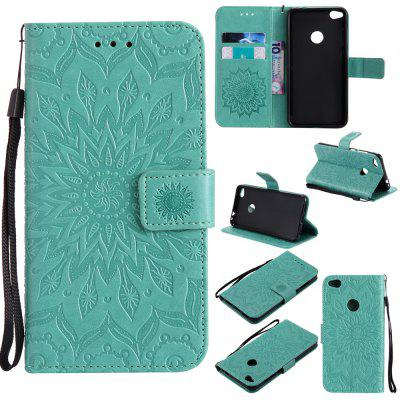 Buy GREEN Yanxn Sun Flower Printing Design Pu Leather Flip Wallet Lanyard Protective Case for HUAWEI P8 Lite, 2017 for $5.08 in GearBest store
