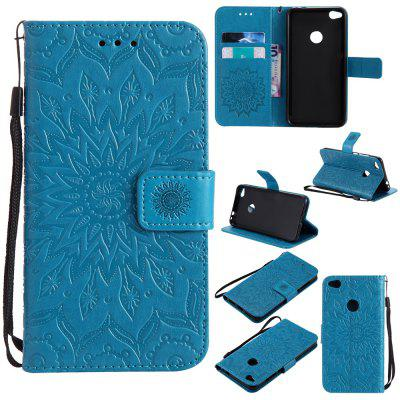 Buy BLUE Yanxn Sun Flower Printing Design Pu Leather Flip Wallet Lanyard Protective Case for HUAWEI P8 Lite, 2017 for $5.08 in GearBest store
