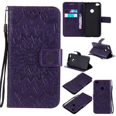 Buy PURPLE Yanxn Sun Flower Printing Design Pu Leather Flip Wallet Lanyard Protective Case for HUAWEI P8 Lite, 2017 for $5.08 in GearBest store