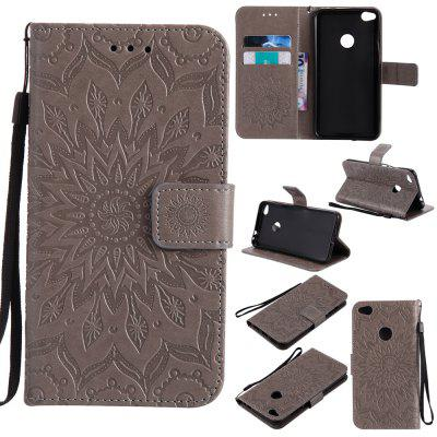 Buy GRAY Yanxn Sun Flower Printing Design Pu Leather Flip Wallet Lanyard Protective Case for HUAWEI P8 Lite, 2017 for $5.08 in GearBest store