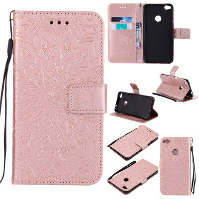 Buy ROSE GOLD Yanxn Sun Flower Printing Design Pu Leather Flip Wallet Lanyard Protective Case for HUAWEI P8 Lite, 2017 for $5.08 in GearBest store