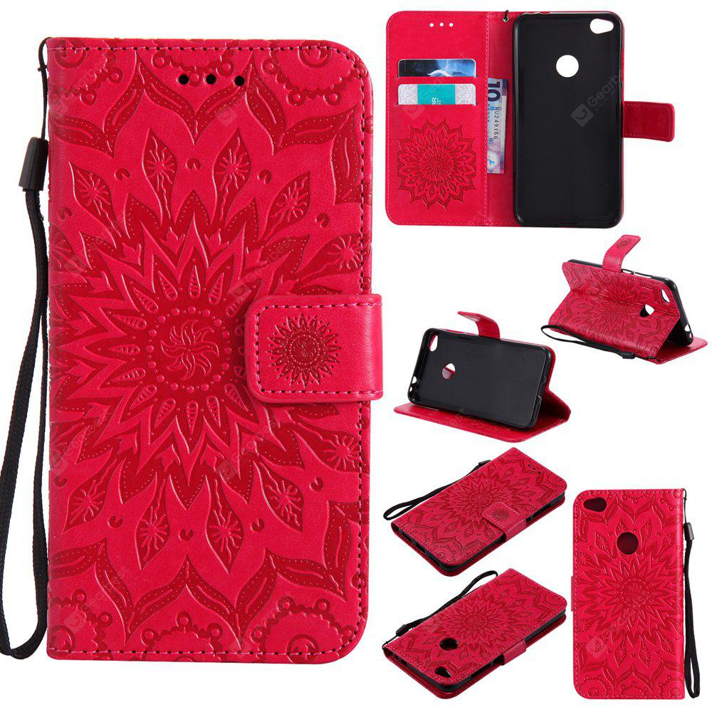 RED Yanxn Sun Flower Printing Design Pu Leather Flip Wallet Lanyard Protective Case for HUAWEI P8 Lite, 2017