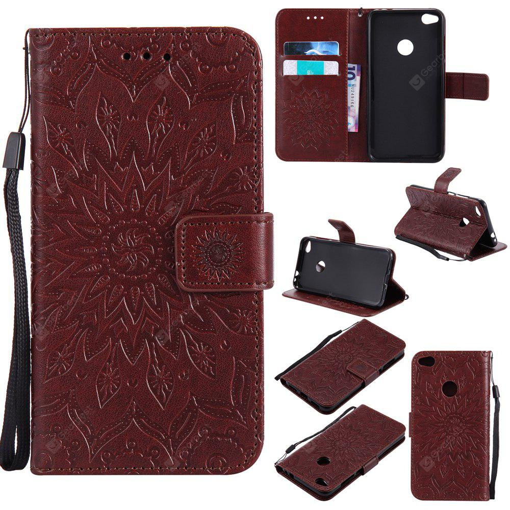 BROWN Yanxn Sun Flower Printing Design Pu Leather Flip Wallet Lanyard Protective Case for HUAWEI P8 Lite, 2017