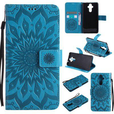 Buy BLUE Yanxn Sun Flower Printing Design Pu Leather Flip Wallet Lanyard Protective Case for HUAWEI Mate 9 for $5.08 in GearBest store