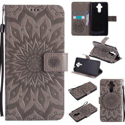 Buy GRAY Yanxn Sun Flower Printing Design Pu Leather Flip Wallet Lanyard Protective Case for HUAWEI Mate 9 for $5.08 in GearBest store