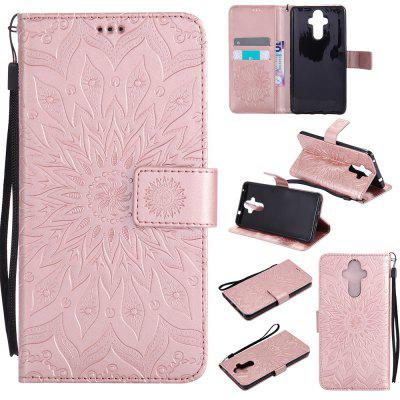 Buy ROSE GOLD Yanxn Sun Flower Printing Design Pu Leather Flip Wallet Lanyard Protective Case for HUAWEI Mate 9 for $5.08 in GearBest store