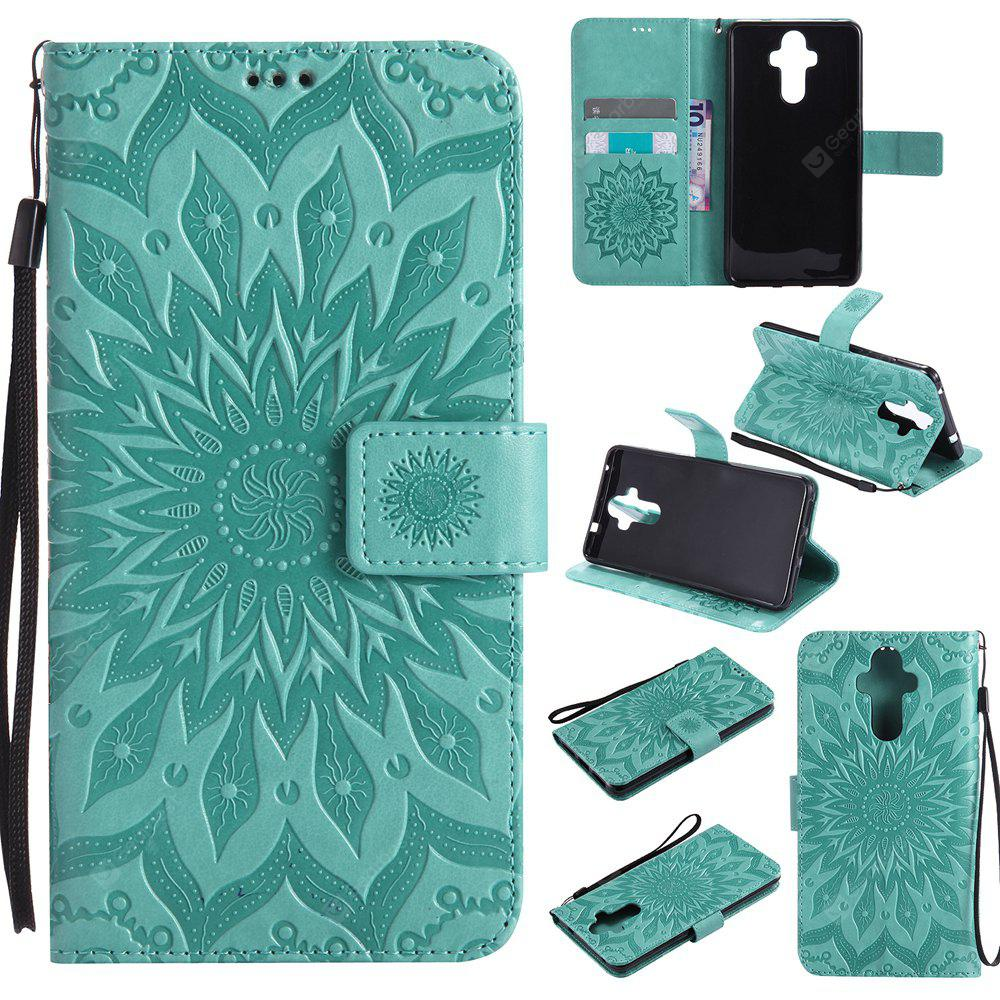 GREEN Yanxn Sun Flower Printing Design Pu Leather Flip Wallet Lanyard Protective Case for HUAWEI Mate 9