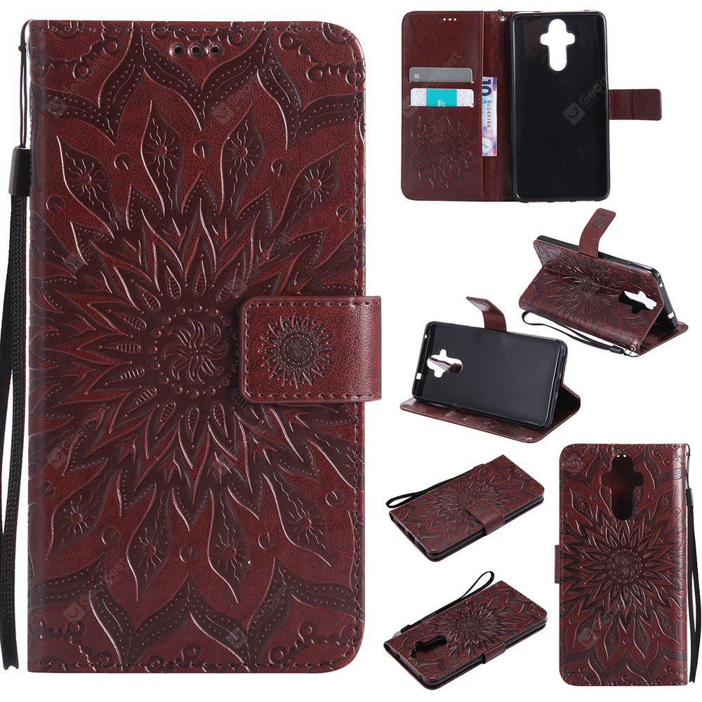 BROWN Yanxn Sun Flower Printing Design Pu Leather Flip Wallet Lanyard Protective Case for HUAWEI Mate 9