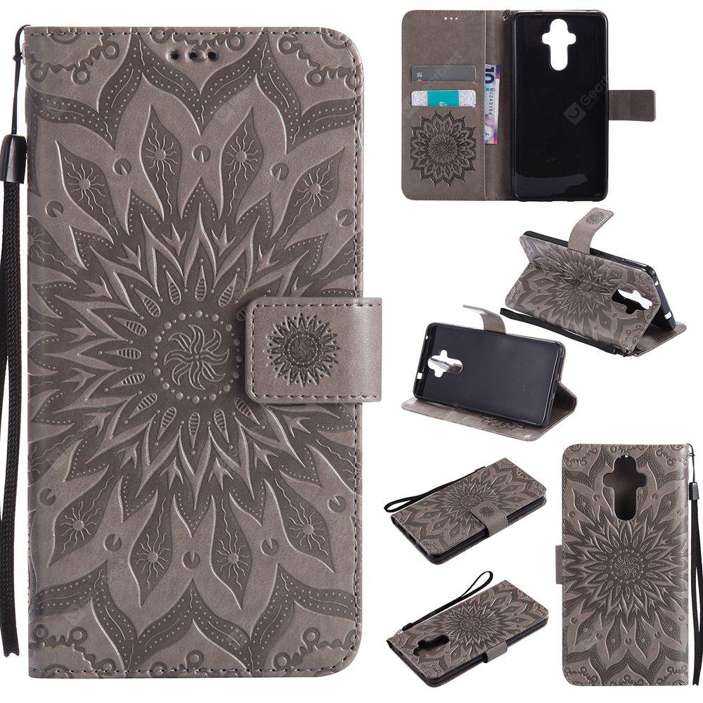 GRAY Yanxn Sun Flower Printing Design Pu Leather Flip Wallet Lanyard Protective Case for HUAWEI Mate 9