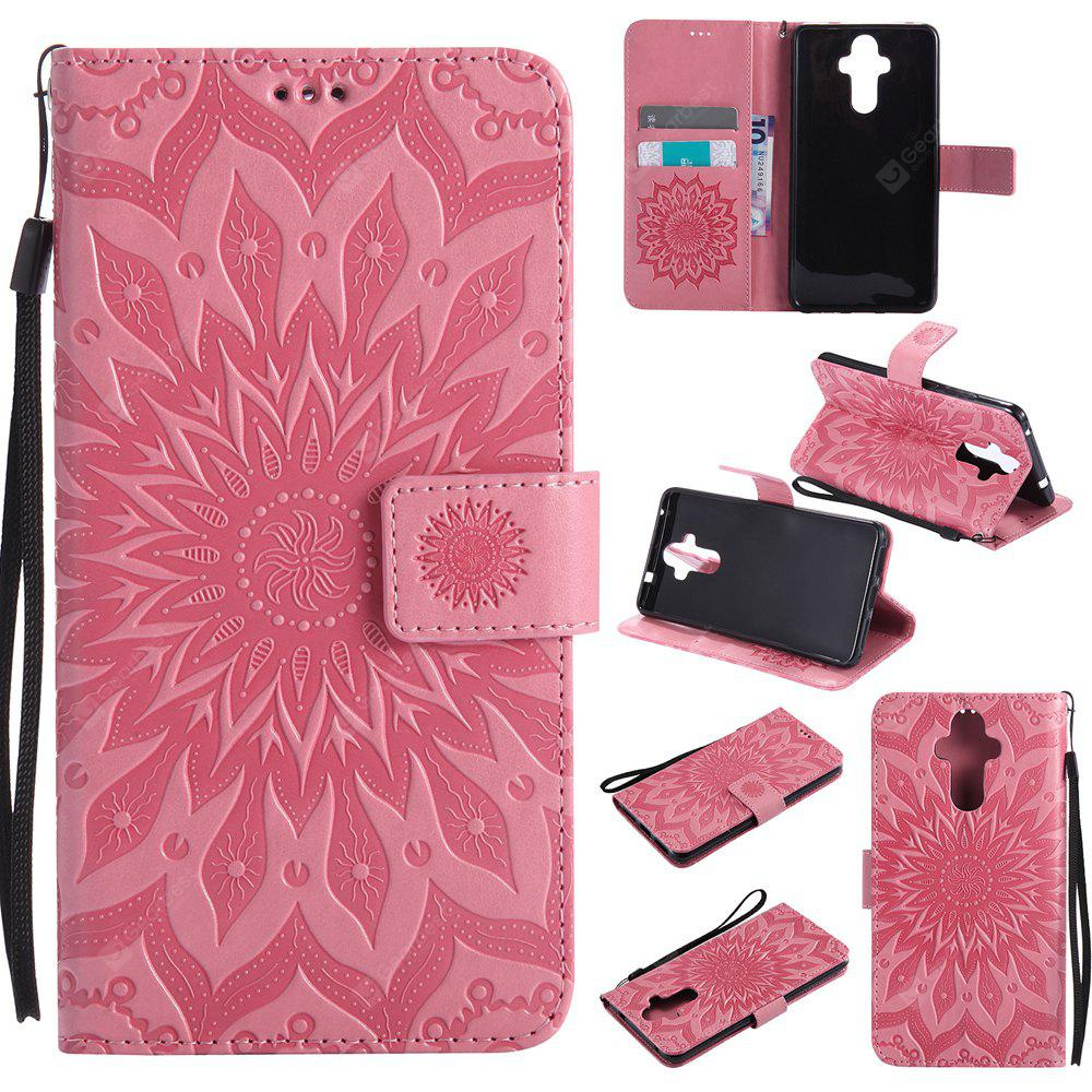 PINK Yanxn Sun Flower Printing Design Pu Leather Flip Wallet Lanyard Protective Case for HUAWEI Mate 9