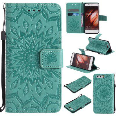 Buy GREEN Yanxn Sun Flower Printing Design Pu Leather Flip Wallet Lanyard Protective Case for HUAWEI P10 for $5.08 in GearBest store