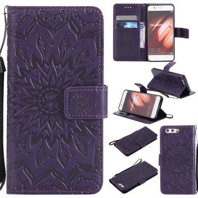 Buy PURPLE Yanxn Sun Flower Printing Design Pu Leather Flip Wallet Lanyard Protective Case for HUAWEI P10 for $5.08 in GearBest store