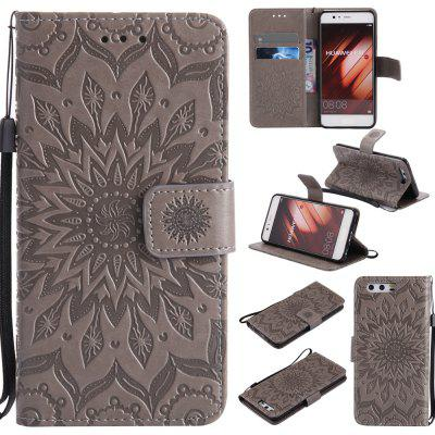 Buy GRAY Yanxn Sun Flower Printing Design Pu Leather Flip Wallet Lanyard Protective Case for HUAWEI P10 for $5.08 in GearBest store