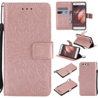 Buy ROSE GOLD Yanxn Sun Flower Printing Design Pu Leather Flip Wallet Lanyard Protective Case for HUAWEI P10 for $5.08 in GearBest store