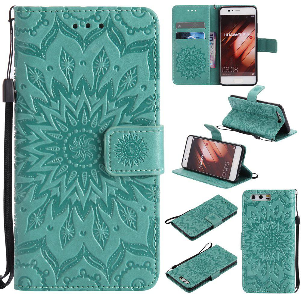 GREEN Yanxn Sun Flower Printing Design Pu Leather Flip Wallet Lanyard Protective Case for HUAWEI P10