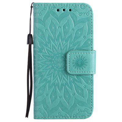 Buy GREEN Yanxn Sun Flower Printing Design Pu Leather Flip Wallet Lanyard Protective Case for iPhone Se / 5S / 5 for $4.42 in GearBest store
