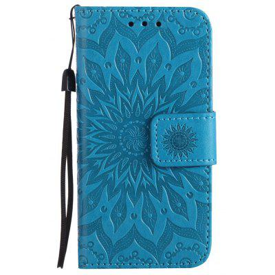 Buy BLUE Yanxn Sun Flower Printing Design Pu Leather Flip Wallet Lanyard Protective Case for iPhone Se / 5S / 5 for $4.42 in GearBest store