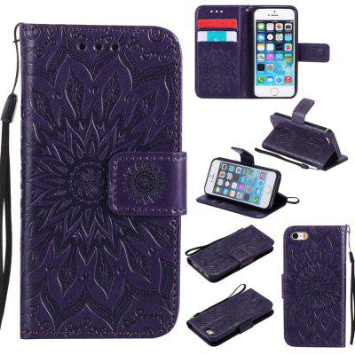 Buy PURPLE Yanxn Sun Flower Printing Design Pu Leather Flip Wallet Lanyard Protective Case for iPhone Se / 5S / 5 for $5.68 in GearBest store