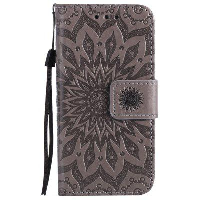 Buy GRAY Yanxn Sun Flower Printing Design Pu Leather Flip Wallet Lanyard Protective Case for iPhone Se / 5S / 5 for $4.42 in GearBest store