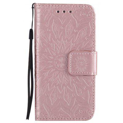 Buy ROSE GOLD Yanxn Sun Flower Printing Design Pu Leather Flip Wallet Lanyard Protective Case for iPhone Se / 5S / 5 for $4.42 in GearBest store