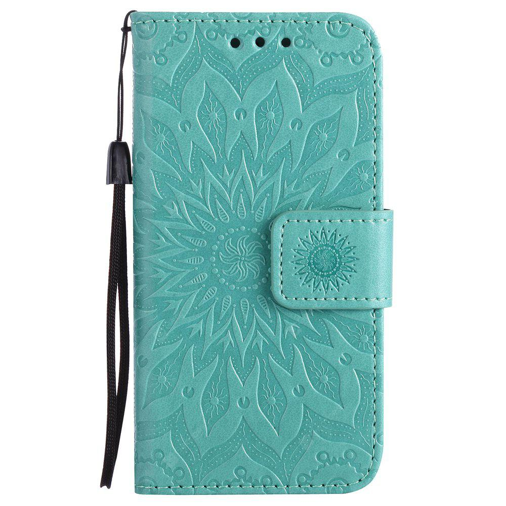 GREEN Yanxn Sun Flower Printing Design Pu Leather Flip Wallet Lanyard Protective Case for iPhone Se / 5S / 5