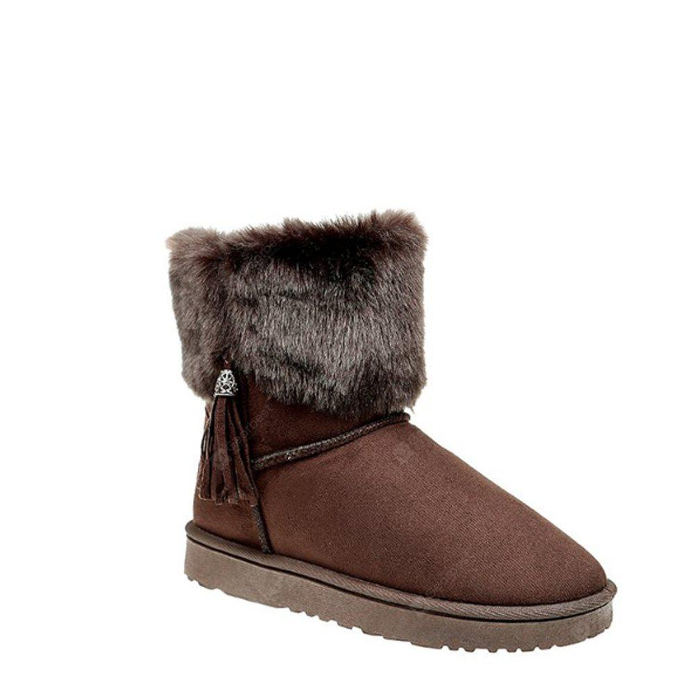 44 OFF Tassels Synthetic Fur Short Snow Boots