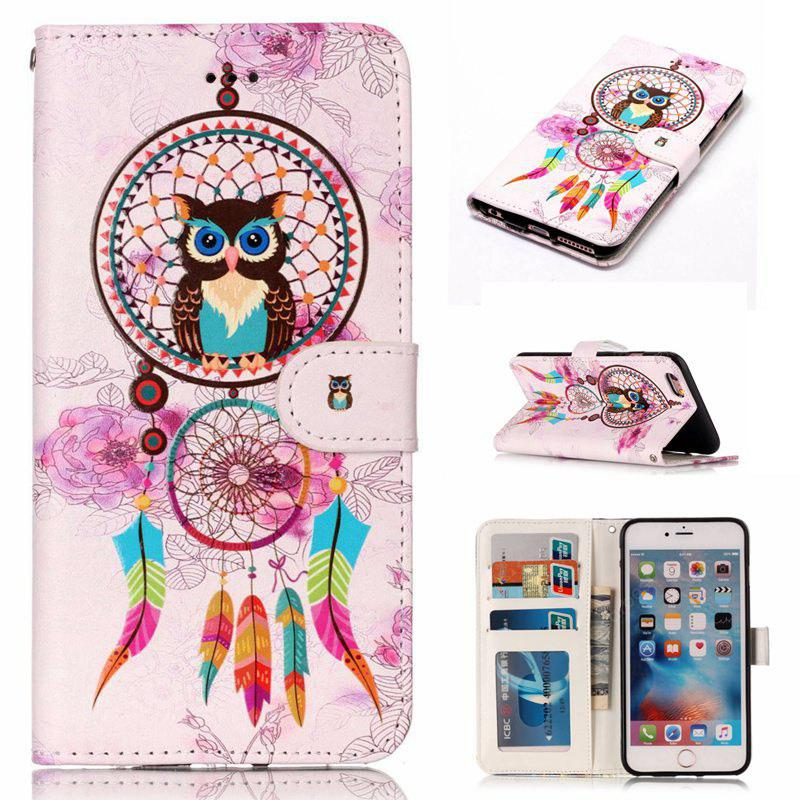 Wind Chimes Owl Varnish Relief Pu Phone Case for Iphone 6S / 6