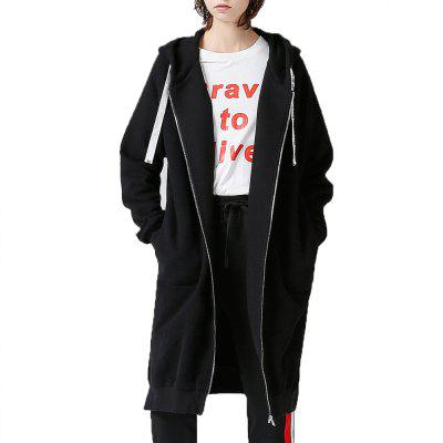 Gearbest Toyouth Sweatshirts 2017 Autumn Women Loose Solid Color Casual Long Hoodies Zipper Outerwear Coat