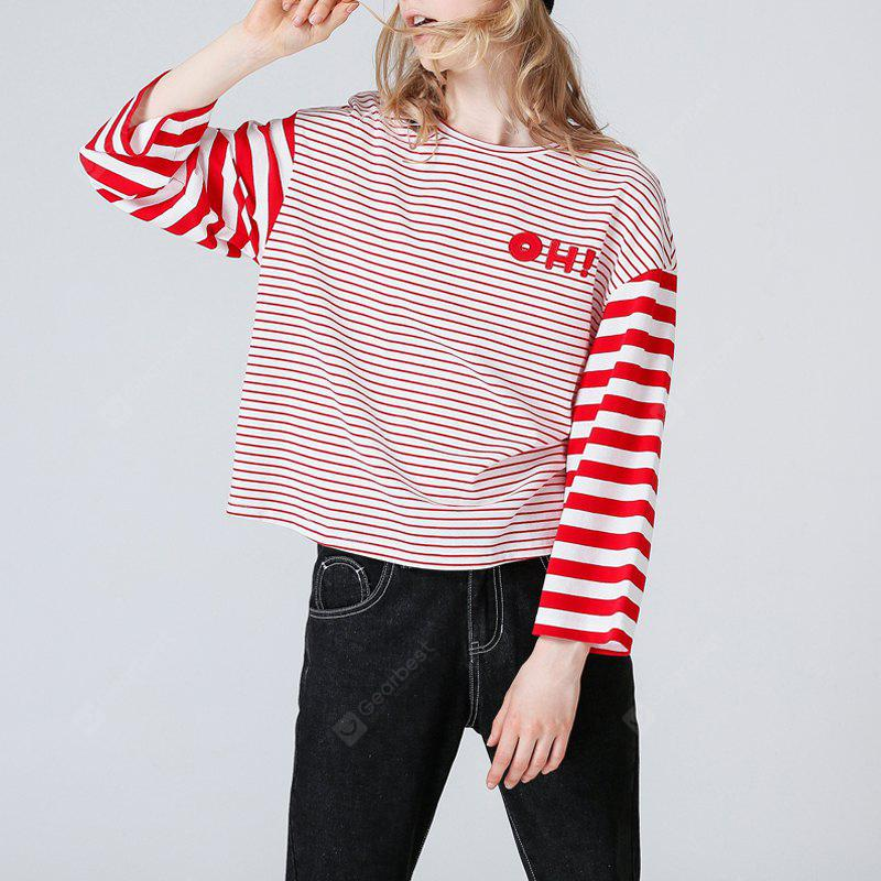 Toyouth T-Shirt 2017 Autumn Women Fashion Striped Patchwork Three Quarter Sleeve Cotton Loose Tee Tops
