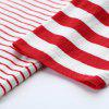 Toyouth T-Shirt 2017 Autumn Women Fashion Striped Patchwork Three Quarter Sleeve Cotton Loose Tee Tops - RED WITH WHITE