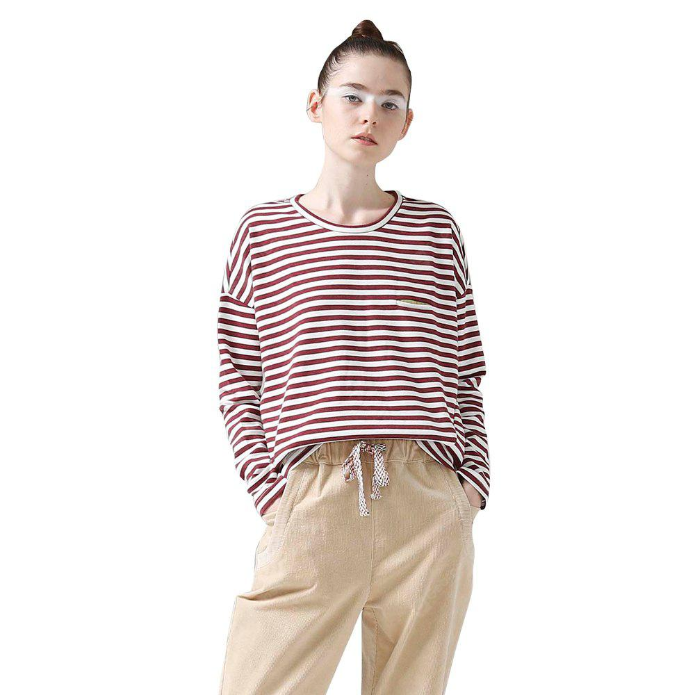 Toyouth Women T-Shirts Batwing Long Sleeve Striped Pattern O-Neck Casual T Shirt Female Tees Cotton Elegant Ladies Tops S RED WITH WHITE