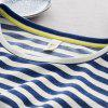 Toyouth Women T-Shirts Batwing Long Sleeve Striped Pattern O-Neck Casual T Shirt Female Tees Cotton Elegant Ladies Tees Tops - BLUE + WHITE