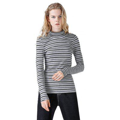 Toyouth Women Black Striped High-Necked Long-Sleeve T-Shirt Female Basic-Matched Tshirts