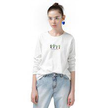 Toyouth T-Shirts Women Cactus Embroidery Casual Cotton Long Sleeve Loose O-Neck Ladies Tees Tops