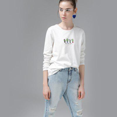 Toyouth T-Shirts Women Cactus Embroidery Casual Cotton Long Sleeve Loose O-Neck Ladies Tees TopsTees<br>Toyouth T-Shirts Women Cactus Embroidery Casual Cotton Long Sleeve Loose O-Neck Ladies Tees Tops<br><br>Collar: Round Neck<br>Elasticity: Micro-elastic<br>Embellishment: Embroidery<br>Fabric Type: Twill<br>Material: Cotton<br>Package Contents: 1 x T-Shirt<br>Pattern Type: Plant<br>Shirt Length: Regular<br>Sleeve Length: Full<br>Style: Casual<br>Weight: 0.3200kg