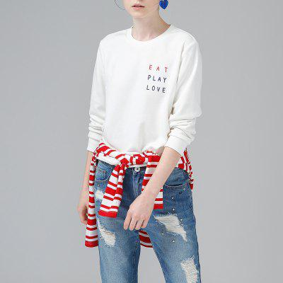 Toyouth Letter Printed Loose Long Sleeve Casual O-Neck Pullovers Sweatshirt Women
