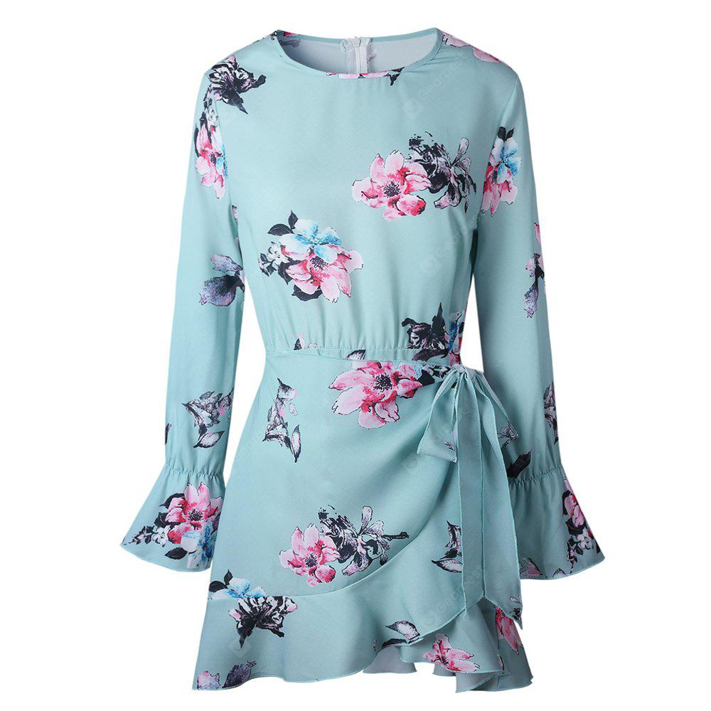 2017 Autumn Style Green Printing Brief Paragraph Dress