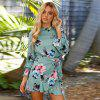 2017 Autumn Style Green Printing Brief Paragraph Dress - GREEN