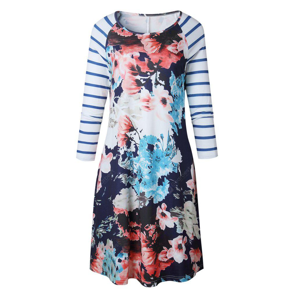 2017 Autumn Style Printing Striation Mid-Length Dress
