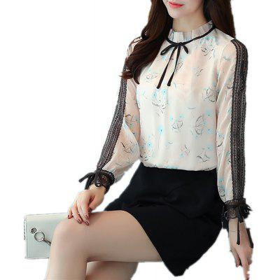 2017 Autumn Style Bud Silk Joining Together Printed Chiffon Blouse