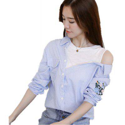 Buy A Word Shoulder Dew Shoulder Sweet Shirt, LIGHT BULE, XL, Apparel, Women's Clothing, Blouses for $38.44 in GearBest store