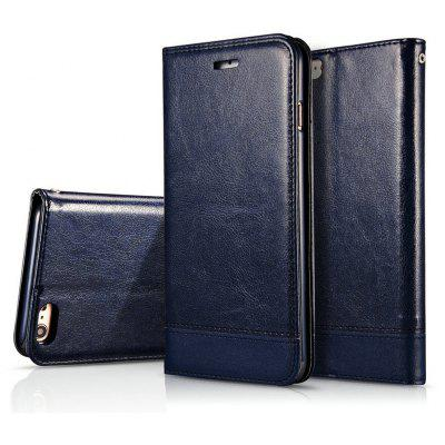 Wkae Luxury Mixed Stitching Style Double Side Magnetic Closure Ultra Slim Premium Leather Case with Kickstand and Card Slots for iPhone 7 8