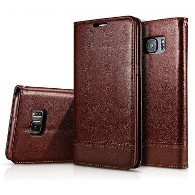 Wkae Luxury Mixed Stitching Style Double Side Magnetic Closure Ultra Slim Premium Leather Case with Kickstand and Card S