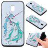 3D Embossed Color Pattern TPU Soft Back Case for Samsung Galaxy J3 2017 (Europe Edition) - CYAN + WHITE