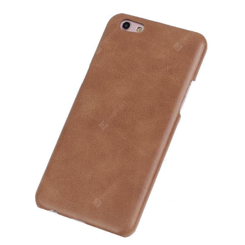 BROWN Retro Style Cow Leather Hard Back Case for OPPO R9S Plus