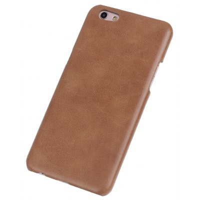 Buy BROWN Retro Style Cow Leather Hard Back Case for OPPO R9S for $8.99 in GearBest store