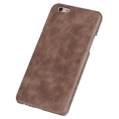 Buy DEEP BROWN Retro Style Cow Leather Hard Back Case for OPPO R9S for $8.99 in GearBest store