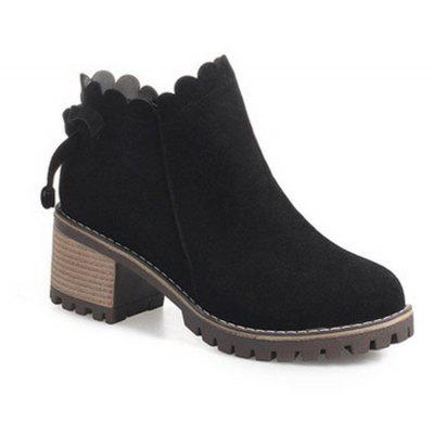 Buy BLACK 39 Thick High-Heeled Boots Boots Boots Martin British Style All-Match Frosted Single Boots for $60.00 in GearBest store