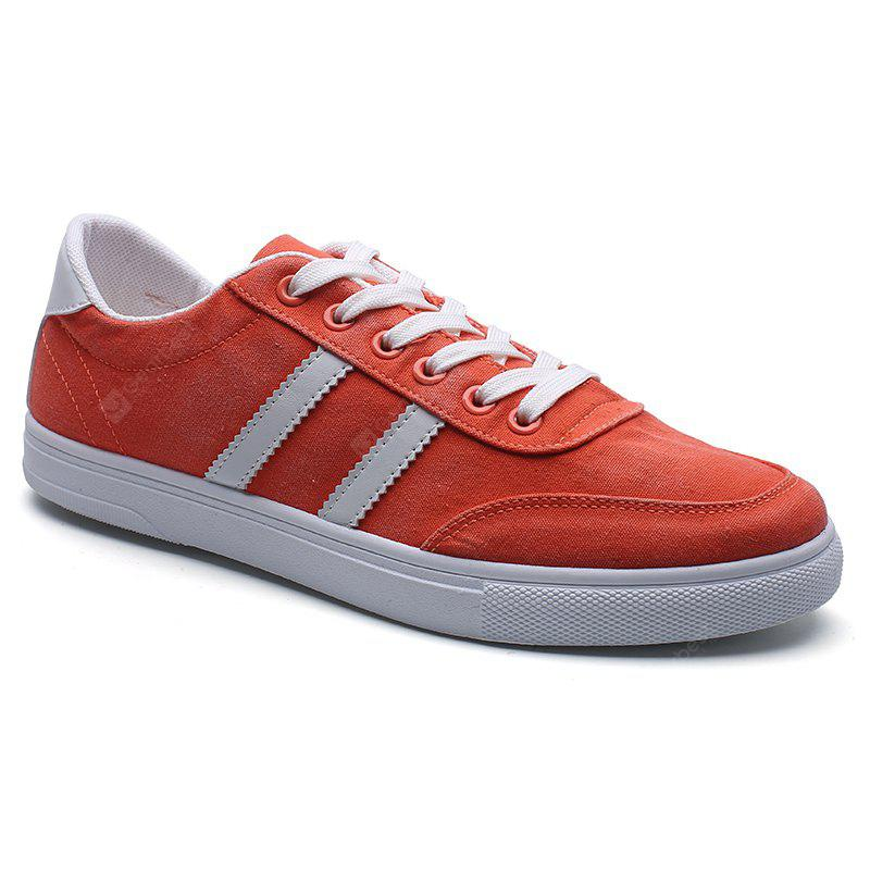 Color Block Canvas Skate Shoes - Red 42